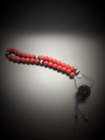 Worry beads in Coral, Αgate Τibet & Swarovski